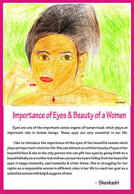 Basic Drawing - Importance Of Eyes And Beauty Of A Women by Sheshadri A