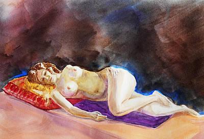 Nudes Paintings - Impressionism Of Reclining Nude by Irina Sztukowski