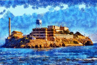 Digital Art - Impressionist Alcatraz by Kaylee Mason