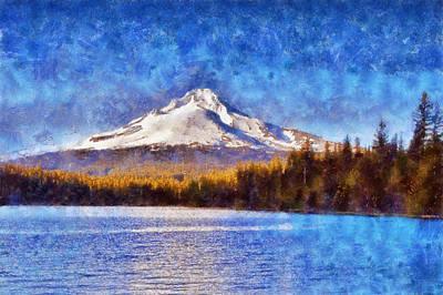 Mt Hood Digital Art - Impressionist Mount Hood by Kaylee Mason