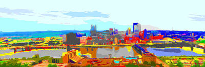 Photograph - Impressionist Pittsburgh Across The River 2 by C H Apperson
