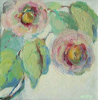 Impressionist Roses  Art Print by Mary Wolf