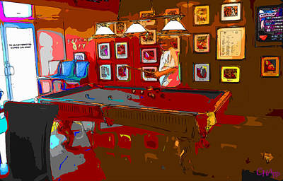 Photograph - Impressionist Sports Bar Pool Player by C H Apperson