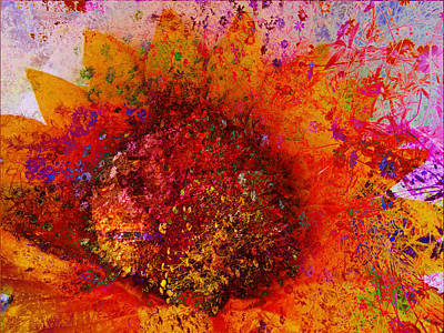 Digital Sunflower Mixed Media - Impressionistic Colorful Flower  by Ann Powell