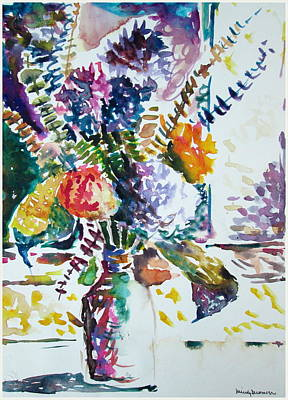 Mums Drawing - Impressionistic Floral by Mindy Newman