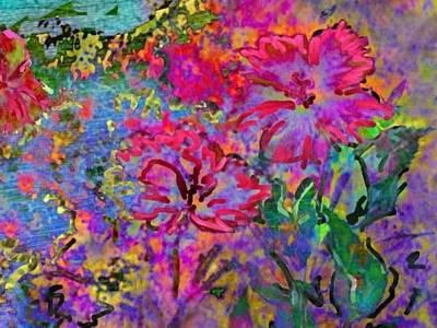 Digital Art - Impressionistic Magenta Hibiscus - Horizontal by Lyn Voytershark