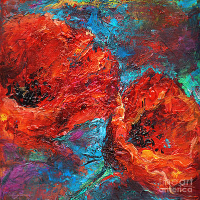Contemporary Abstract Painting - Impressionistic Red Poppies by Svetlana Novikova
