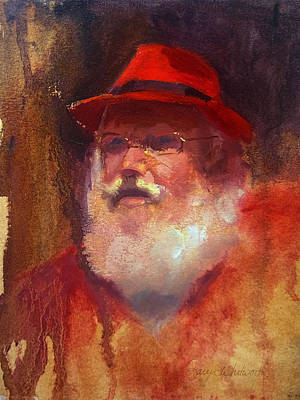Fedora Painting - Impressionistic Santa With Rockin Red Fedora by Karen Whitworth