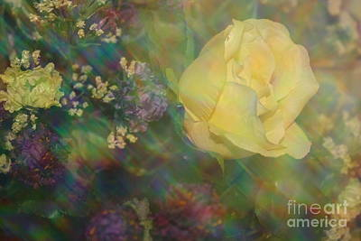Art Print featuring the photograph Impressionistic Yellow Rose by Dora Sofia Caputo Photographic Art and Design