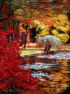 Vivid Fall Colors Painting - Impressions In Red And Gold by David Lloyd Glover