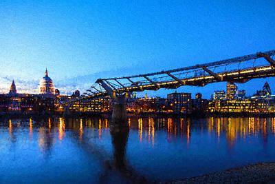 Digital Art - Impressions Of London - Millennium Bridge And St. Paul's Cathedral by Georgia Mizuleva