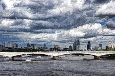 Transportation Digital Art - Impressions of London - Stormy Skies Skyline by Georgia Mizuleva