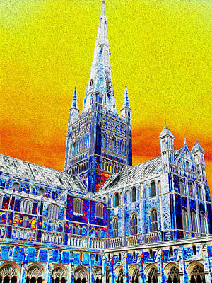 Digital Art - Impressions Of Norwich Cathedral by Stephanie Grant