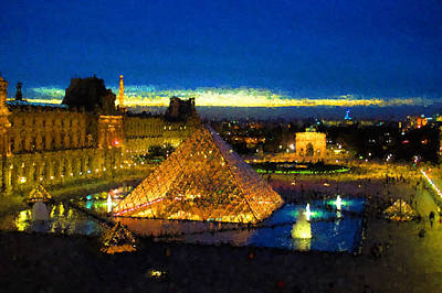 Digital Art - Impressions Of Paris - Louvre Pyramid Blue Hour by Georgia Mizuleva