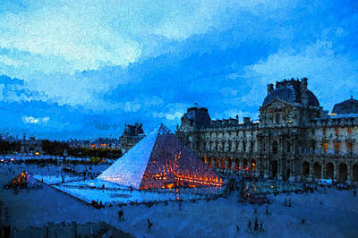 Digital Art - Impressions Of Paris - Louvre Pyramid Evening by Georgia Mizuleva