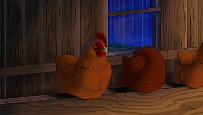 Doze Digital Art - Improbable-sleeping Hens by Cara Bevan