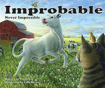 Cat Painting - Improbable...never Impossible by Cara Bevan