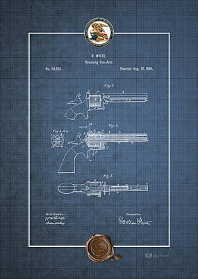 Digital Art - Improvement In Revolving Firearms By R. White - Vintage Patent Blueprint by Serge Averbukh