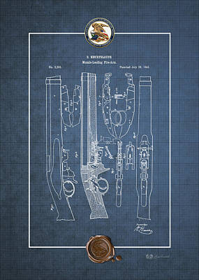 Muzzle Digital Art - Improvement To Muzzle-loading Fire-arm - Vintage Patent Blueprint by Serge Averbukh