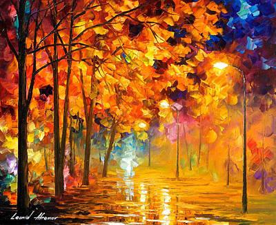 Improvisation Of Trees - Palette Knife Oil Painting On Canvas By Leonid Afremov Original by Leonid Afremov