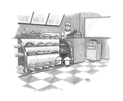 Cash Register Drawing - In A Bakery by Benjamin Schwartz