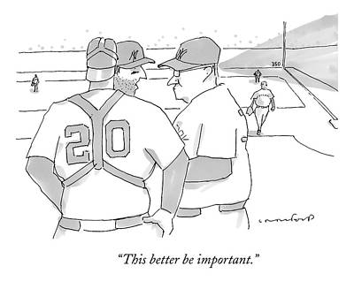Drawing - In A Baseball Game by Michael Crawford
