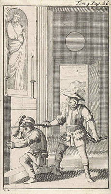 Knight Drawing - In A Church Sancho Kneels Before An Icon And Is Knighted by Caspar Luyken And Pieter Mortier