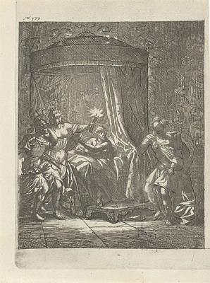 In A Dark Bedroom Is Aristodemus Prince Of Cuma In Bed Art Print by Arnold Houbraken