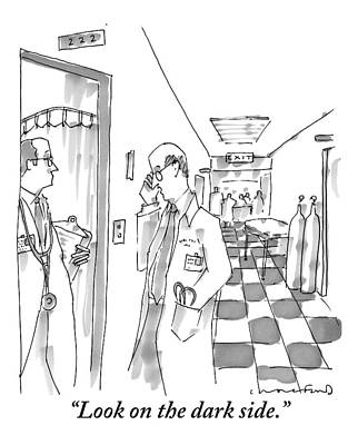 Pessimist Drawing - In A Hospital Hallway by Michael Crawford