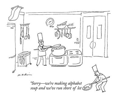 Cartoons Drawing - In A Kitchen by Michael Maslin