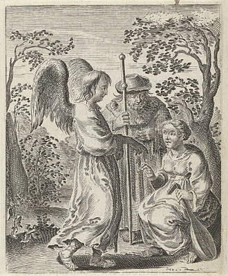 Religious Text Drawing - In A Landscape Is A Pilgrim With Pilgrims Staff by Pieter Nolpe
