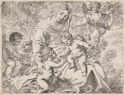 In A Landscape Is Mary With The Christ Child On Her Lap Art Print by Cornelis Schut (i)