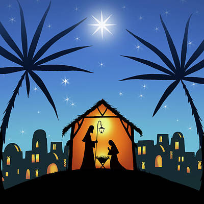 In A Manger Print by P.s. Art Studios