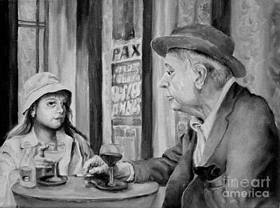Painting - In A Parisian Cafe by Diane Kraudelt