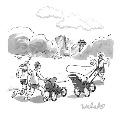 Jogging Drawing - In A Park, Two Runners Jog With A Baby Stroller by Liam Walsh