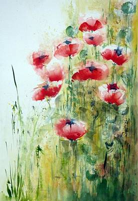 Painting - In A Poppy Field by Christa Friedl