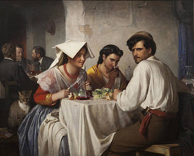 Table Cloth Digital Art - In A Roman Osteria by Carl Bloch