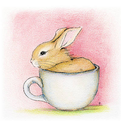 In A Tea Cup Art Print by Penny Collins