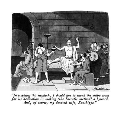 Cartoons Drawing - In Accepting This Hemlock by J.B. Handelsman