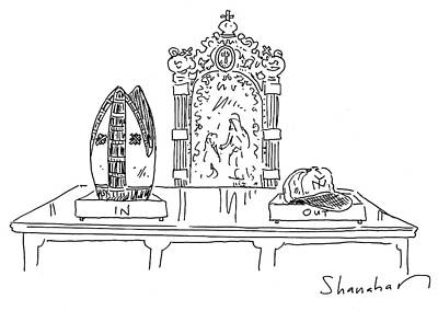 New York Yankees Drawing - In And Out Boxes With Pope's Mitre And Yankees Cap by Danny Shanahan