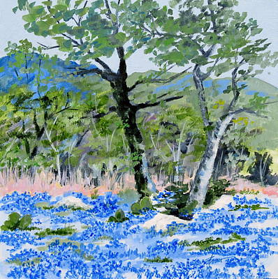 In April-texas Bluebonnets Art Print