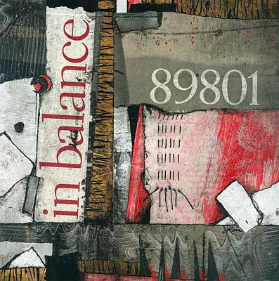 Abstract Collage Mixed Media - In Balance by Laura  Lein-Svencner