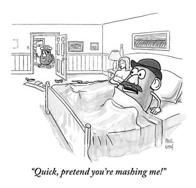 Potato Drawing - In Bed With A Human Woman by Paul Noth