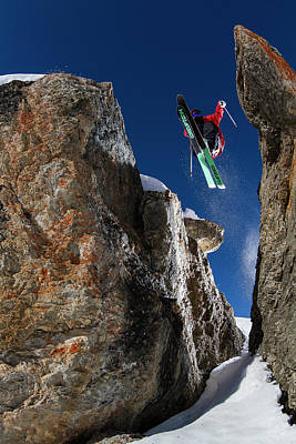 Ski Photograph - In Between The Rocks by Tristan Shu