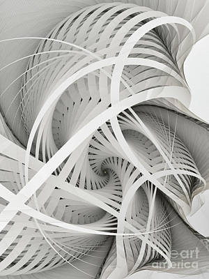 Mathematical Digital Art - In Betweens-white Fractal Spiral by Karin Kuhlmann