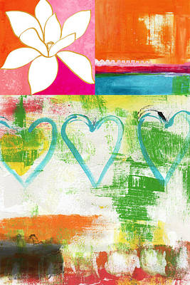 Blue Abstracts Mixed Media - In Bloom- Colorful Heart And Flower Art by Linda Woods