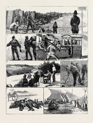 In Camp At Wimbledon 1. A Blow Out For Threepence 2 Print by English School