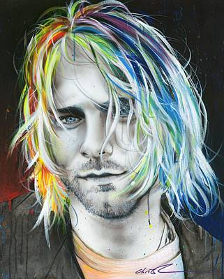 Colorful Contemporary Painting - Kurt Cobain - ' In Debt For My Thirst ' by Christian Chapman Art