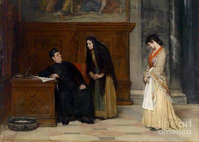 Eugen Von Blaas Painting - In Der Sakristei  by Celestial Images