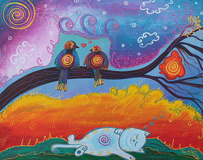 Folkart Painting - In Dreams by Laura Barbosa